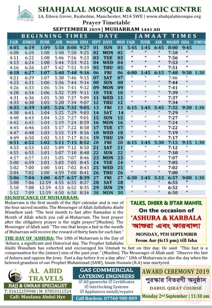 SEPTEMBER 2019 | PRAYER TIMETABLE – Shahjalal Mosque