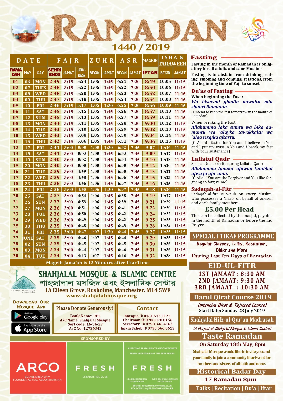 RAMADAN TIMETABLE 1440/2019 FOR MANCHESTER – Shahjalal