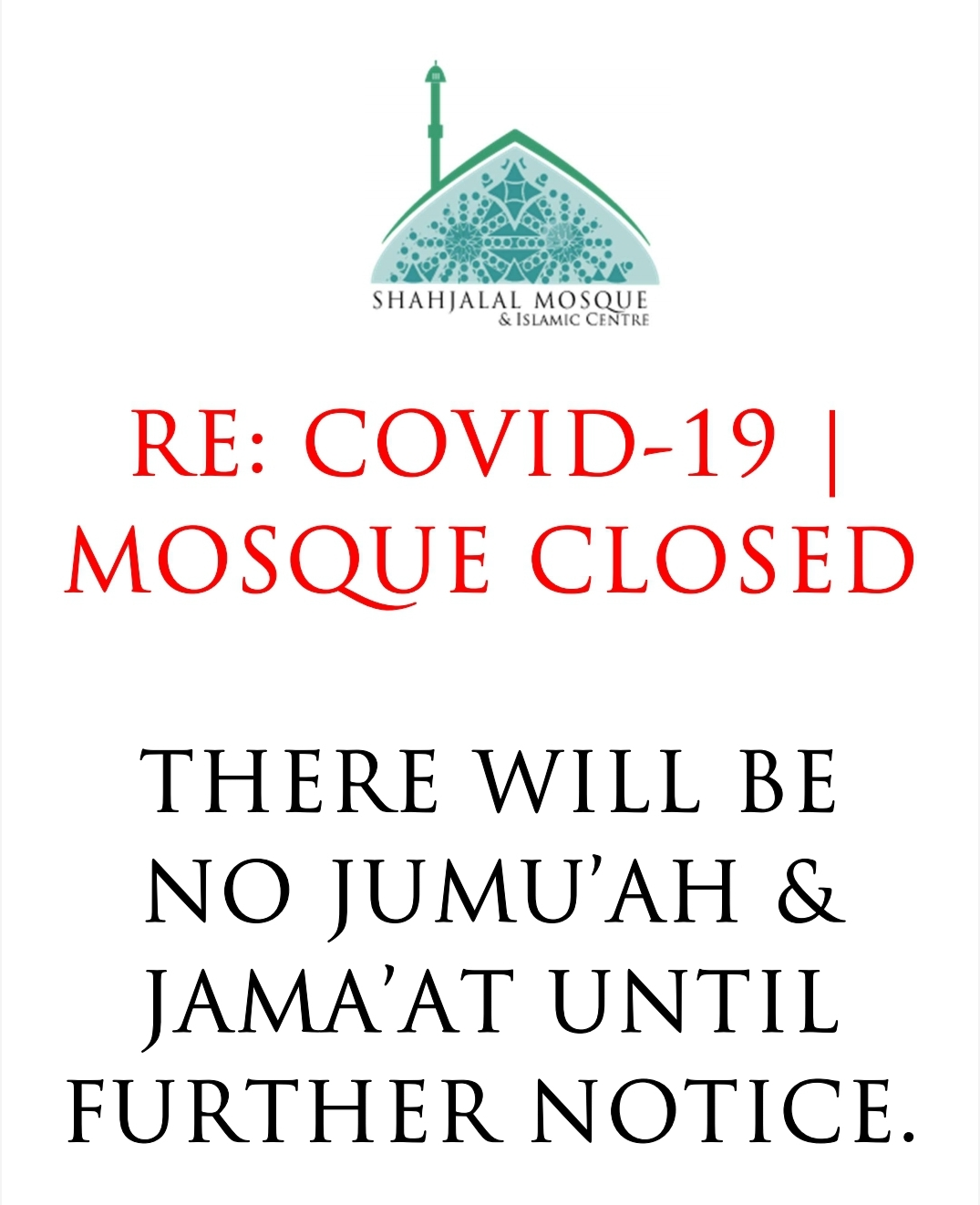 COVID-19 Shahjalal Mosque Manchester